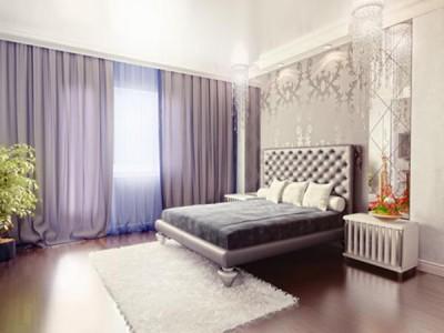 """Белый сатиновый потолок в спальне от компании """"Вертикаль"""""""