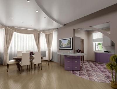 Оформление гостиной. Натяжной потолок от Фабрики натяжных потолков