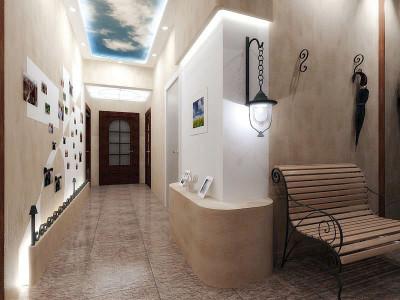 Глянцевый потолок в прихожей с фотопечатью