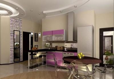 Натяжной потолок в кухне установленный компанией «Hart»
