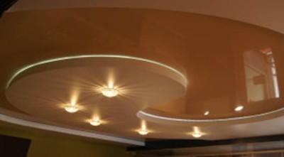 Многоуровневый шовный натяжной потолок