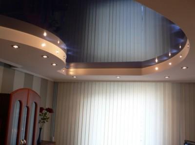 Двухуровневые натяжные потолки (фото кухня)