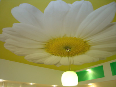 Вид тканевого натяжного потолка.