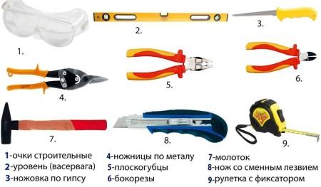 Комплект инструментов для потолков из ПВХ