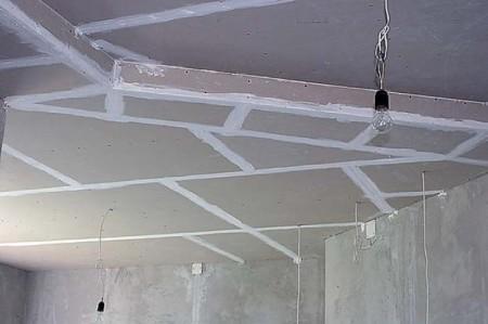 Подготовка потолка из ГКЛ к финишной отделке