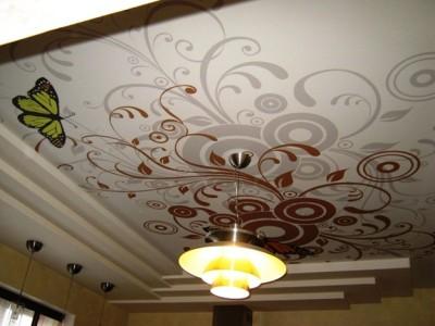 Потолок с изображением абстрактных узоров.