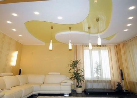Оригинальная идея комбинированного многоуровневого натяжного потолка