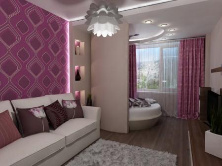 Спальня и гостиная в интерьере с потолком в качестве способа зонирования пространства