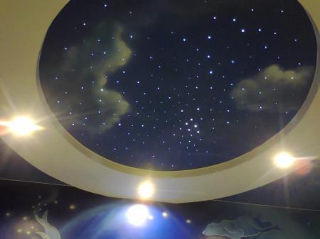Оформление звездного двухуровневого неба с фотопечатью