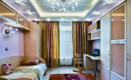 Фото интерьера с потолком из гипсокартона