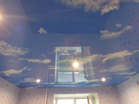 Фотопечать неба на полотне