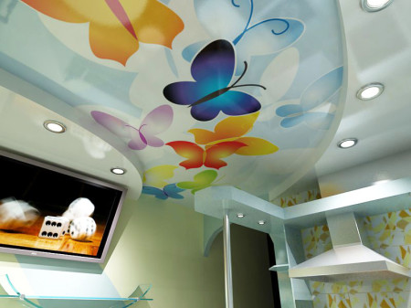 Пластические свойства полотен с фотопечатью позволяют создавать потолок самой различной формы