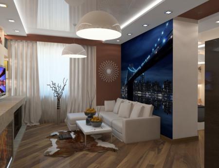 Дизайн конструкции из гипсокартона в интерьеры гостиной комнаты
