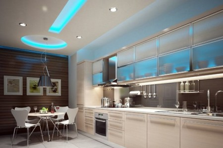 Потолок кухни – это микс лампочек разной мощности и назначения