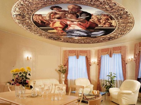 Пример использования фрески на потолочном полотне