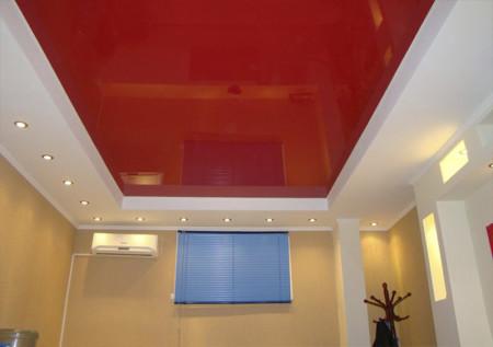 Фото прямоугольного двухуровневого потолка с источниками света