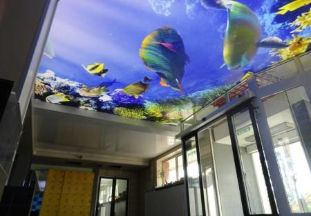 Дизайн интерьера помещения морской тематики с изображением аквариума