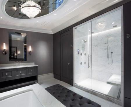 Плита потолочная отлично впишется, если интерьер ванной будет выполнен в стиле хай-тек