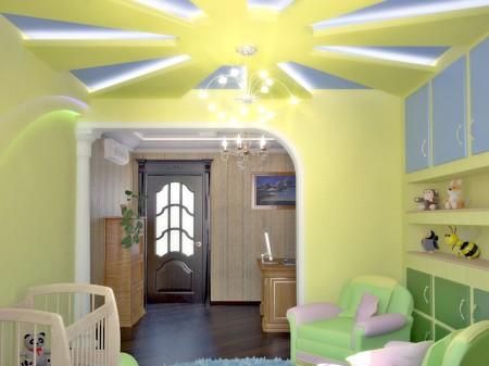 Солнце на потолке с организацией подсветки