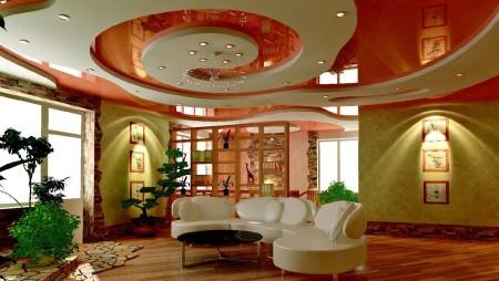Неординарный дизайн в помещение и визуальное увеличение комнаты за счет интересного натяжного потолка, комбинированного с гипсокартоном