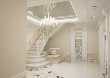 Лампа в интерьере прихожей, оформленной в белых оттенках