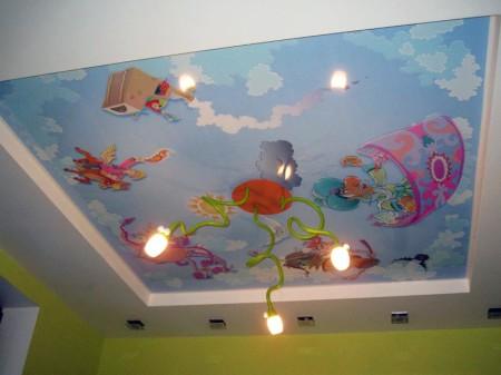 Персонажи мультфильма на потолочной поверхности в детской
