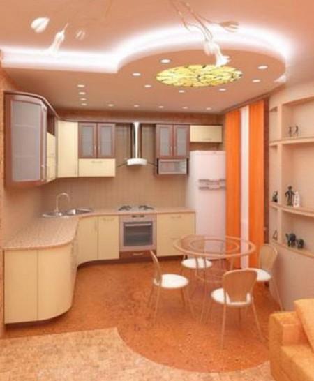 Зональное разделение комнаты при помощи потолка