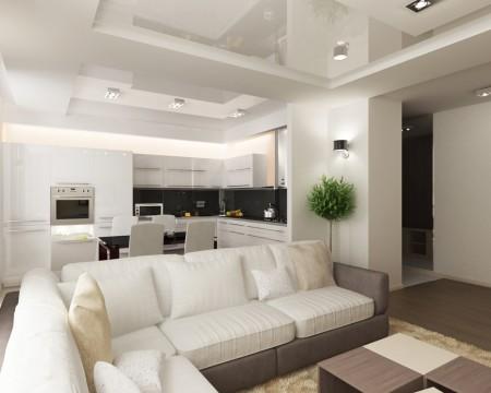 Эффектный дизайн кухни и гостиной в белых оттенках с привлекательным натяжным потолком