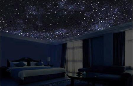 Стильное помещение, которое выполнено с использованием космической тематики