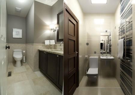 Туалетная комната с одиночным светильником
