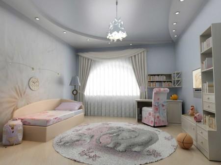 Детская комната и натяжной потолок, который делает ее визуально больше