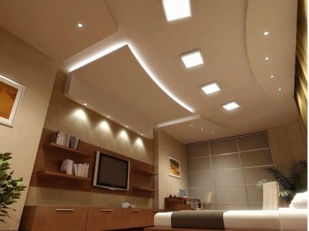 Двухуровневый гипсокартонный потолок в интерьере