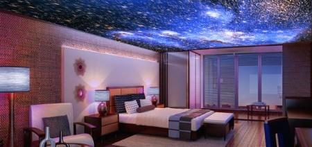 Комнаты с натяжным потолком, на который методом фотопечати нанесено изображение звездного неба