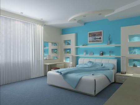 Спальня в голубых оттенках с необычным светом и выразительной формой потолка из гипсокартона