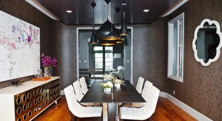 Обеденная зона кухни с черным полотном – презентабельное решение