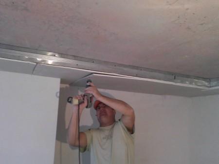 Каркас на потолок и обшивка гипсокартоном