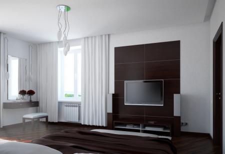 Дизайн темно-коричневой спальни и традиционная форма потолка из гипсокартона