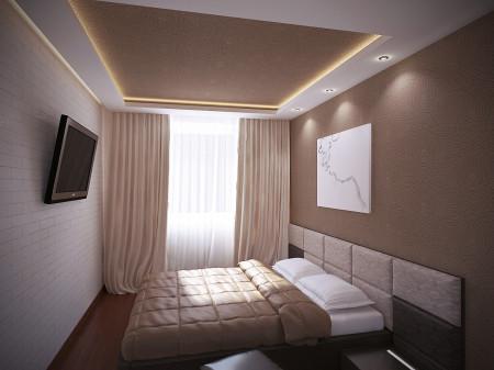 Простой дизайн и приятные оттенки потолочной конструкции в спальне