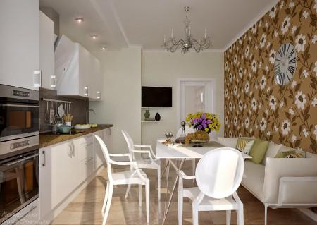 Приятный дизайн кухни и стены с цветочным покрытием