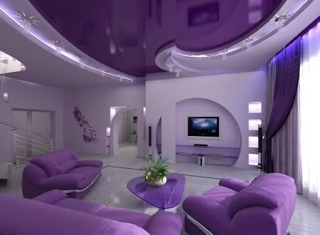 Фото интерьера в фиолетовых оттенках с гипсокартонным потолком