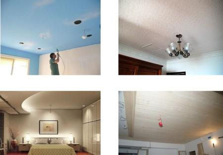 Фото использования различных видов потолка