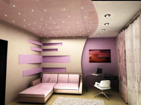 Многоуровневый потолок из гипсокартона, такой дизайн позволяет зонировать комнату