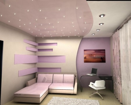 Рабочий кабинет и потолок с типом света в виде точечных светильников