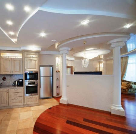 Многоуровневый дизайн – отличное зонирование помещения