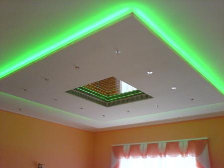 Подсветка, вмонтированная в специализированный короб. Эффектное и привлекательное натяжное потолочное покрытие. Всего два уровня. Интересная идея для дома
