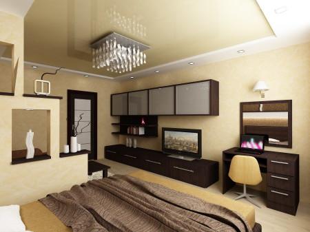 Спальня в бежевых оттенках и двухъярусный потолок из гипсокартона с точечными источниками света