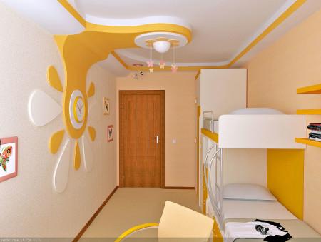 Потолок с деталями желтого цвета