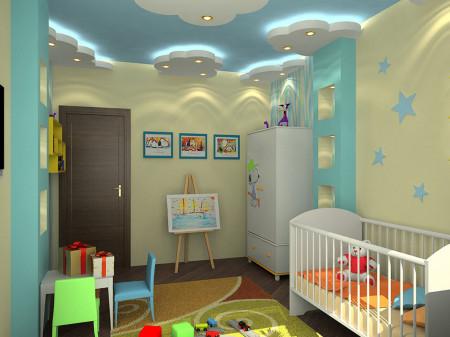 Гипсокартонный вариант в виде облаков, организация света – светодиодная подсветка и точечные светильники