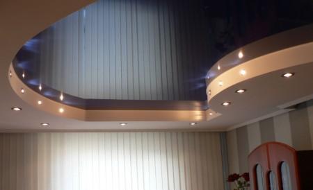 Готовый потолок из гипсокартона с натяжным полотном