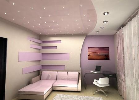 Разбивка комнаты на зоны с помощью светильников